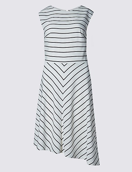 PETITE Striped Asymmetric Hem Shift Dress