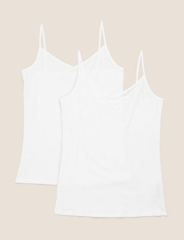 2pk Cotton Strappy Vests