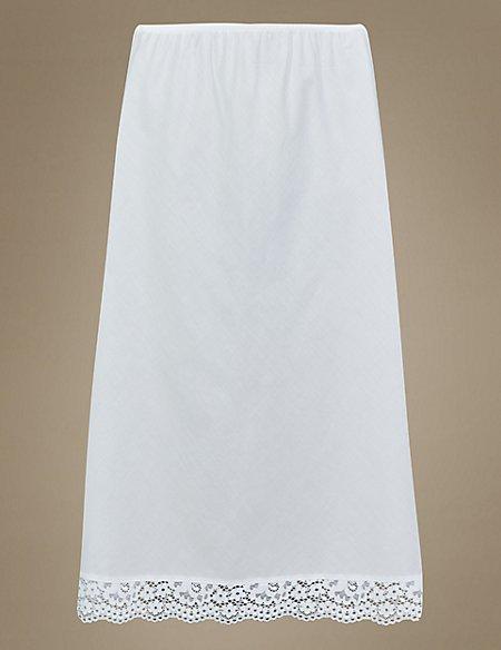 Pure Cotton Vintage Lace Trim Waist Slip