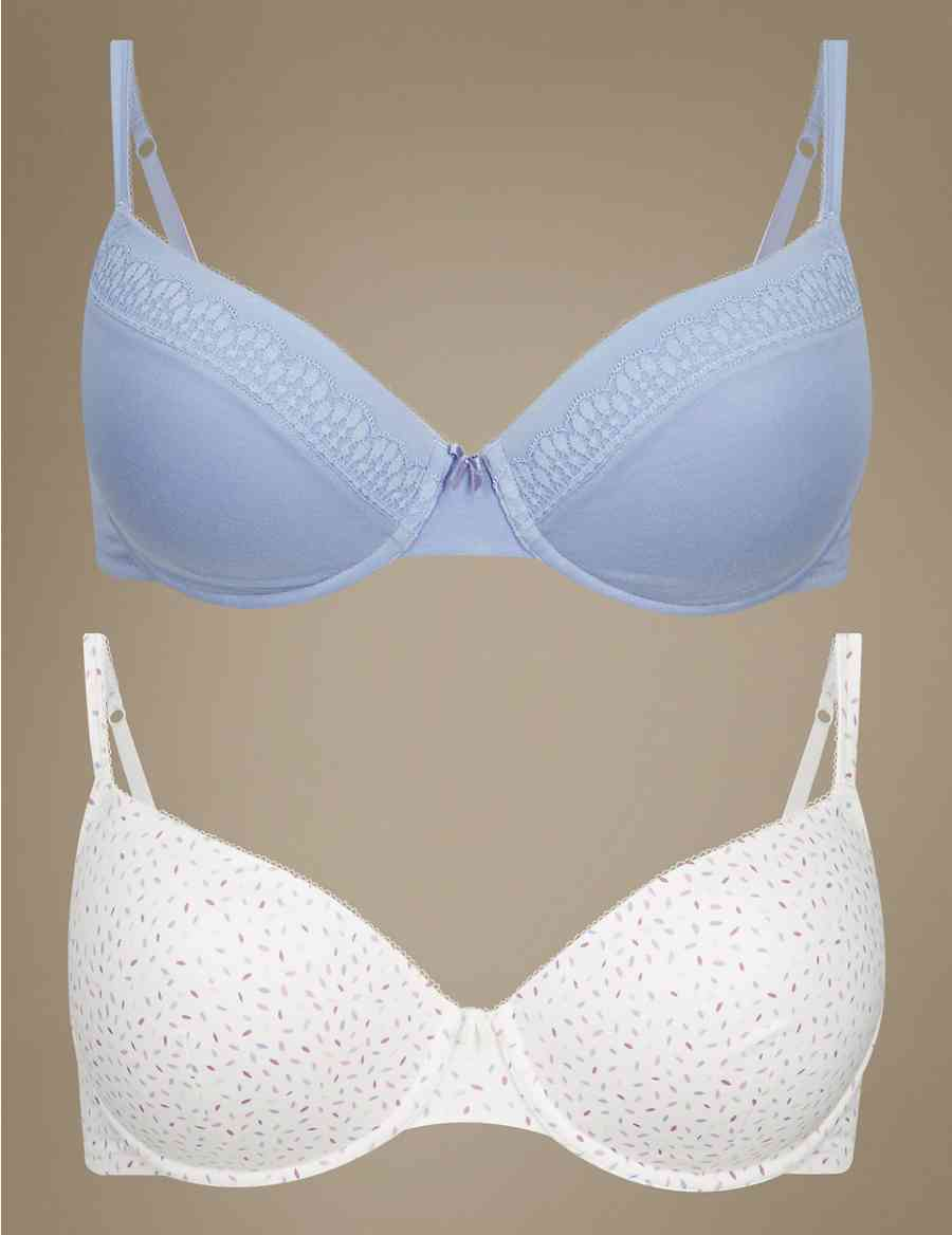 7a36173bacefd 2 Pack Lace Padded Balcony T-Shirt Bras A-DD