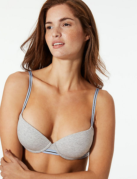 2 Pack Cotton Rich Padded Balcony Bras A-DD