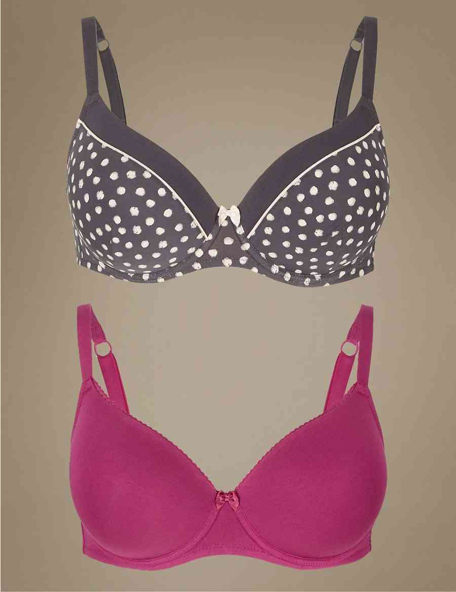 f388119077 2 Pack Padded Full Cup T-Shirt Bras A-E