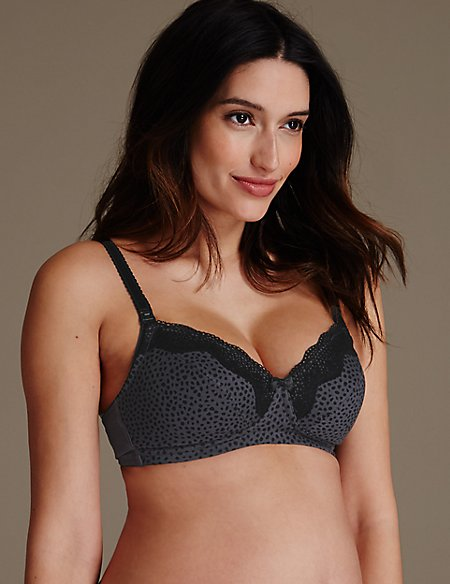 2 Pack Maternity Cotton Rich Spotted Nursing Non-Padded Bras B-H