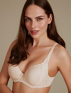 Vintage Lace Padded Full Cup T-Shirt Bra A-E