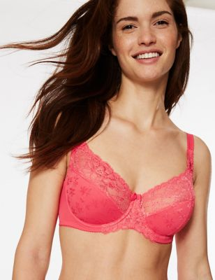 Floral Jacquard Lace Non-Padded Full Cup Bra A-DD