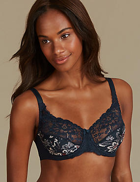 Jacquard & Lace Set with Full Cup A-DD