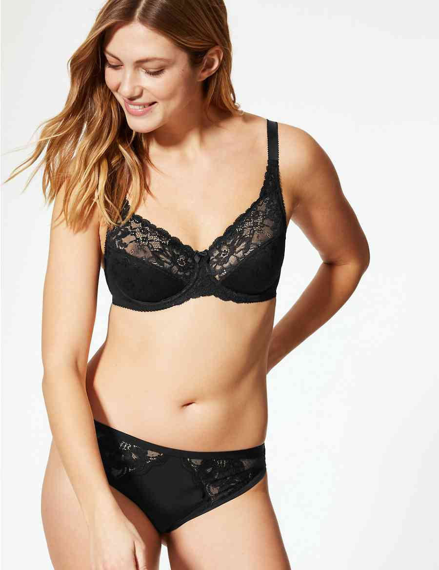 0d09b32728 Jacquard Lace Non-Padded Full Cup Bra A-DD