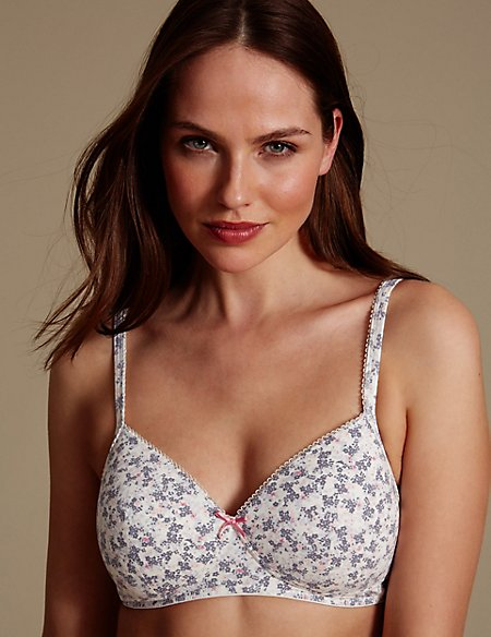 2 Pack Cotton Rich Padded Lace Trim Full Cup T-Shirt Bras