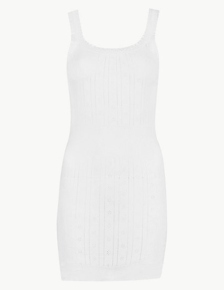 Pure Cotton Ribbed Pointelle Vest