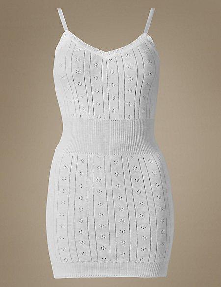 Secret Slimming™ Pure Cotton Ribbed Pointelle Vest