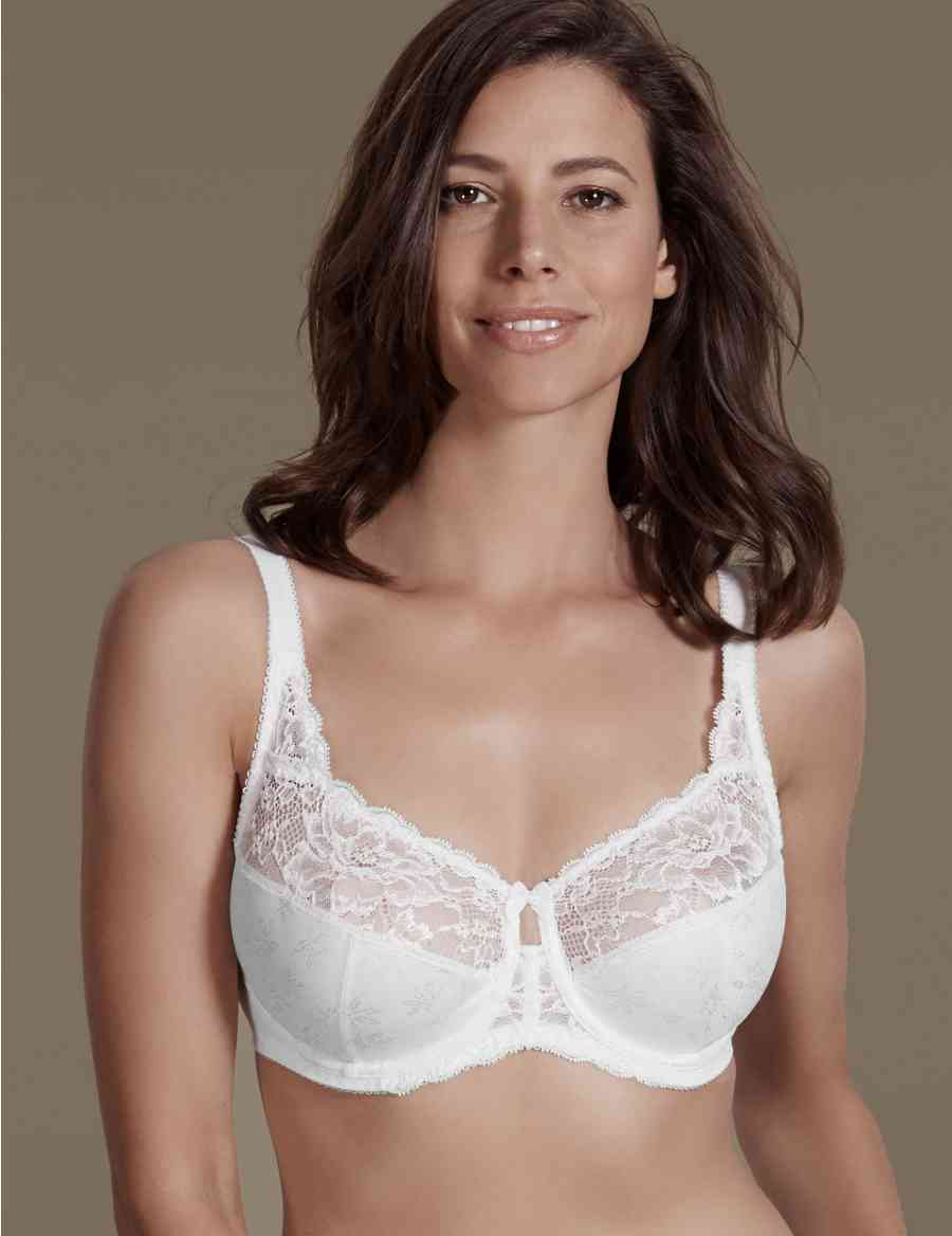 a41372cca6 Floral Jacquard Lace Underwired Full Cup Bra DD+