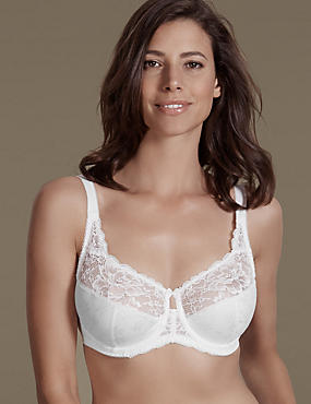 Floral Jacquard Lace Underwired Full Cup Bra