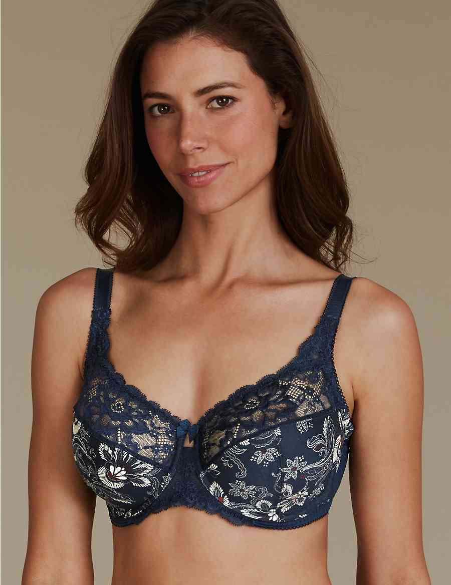 93d8faa3e610c Floral Jacquard Lace Non-Padded Full Cup Bra DD-H