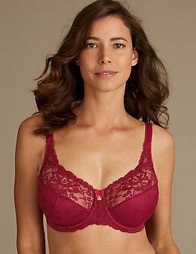 Jacquard Lace Non-Padded Full Cup Bra DD-H
