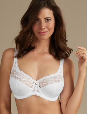 Jacquard & Lace Non-Padded Full Cup Bra DD-H
