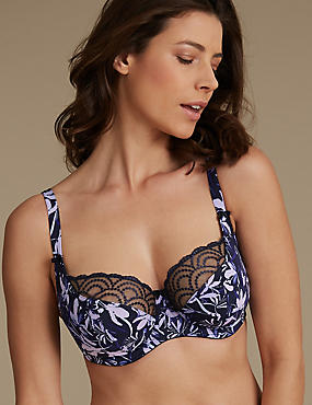 Lace Embroidered Floral Balcony Bra DD-GG