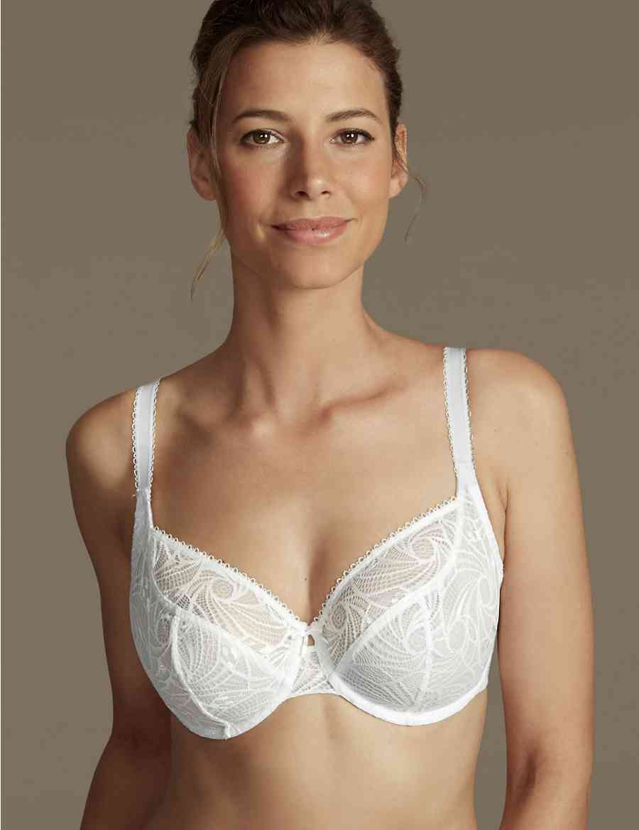 dbcac3a2e7eb6 2 Pack Floral Lace Non-Padded Full Cup Bras DD-G