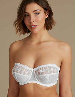 Embroidered Non-Padded Strapless Bra DD-GG