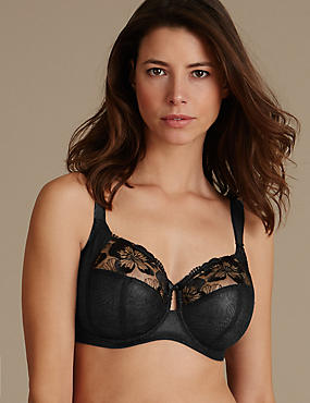 Floral Embroidered Non-Padded Full Cup Bra DD-H