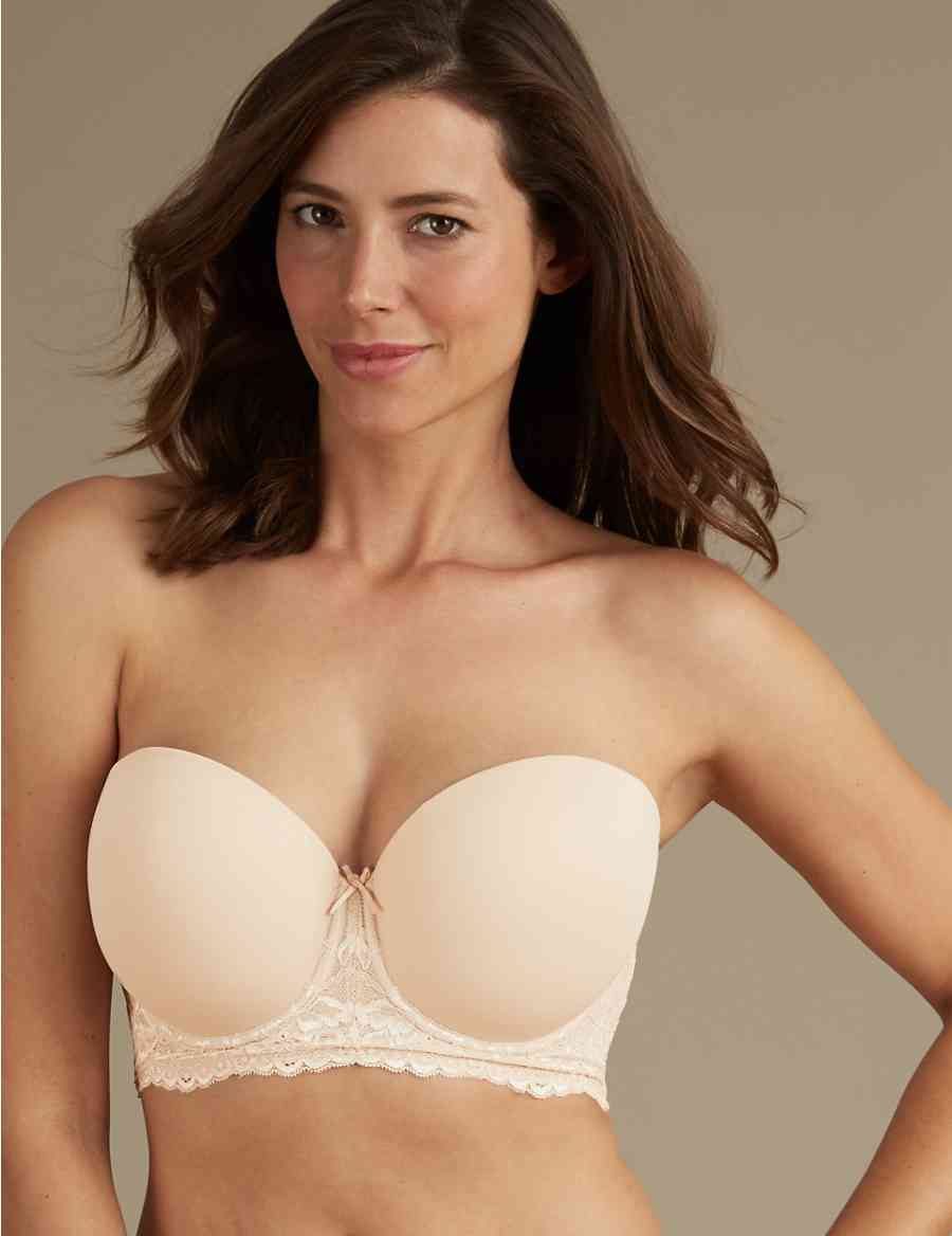 dc70993c93 Lace Embroidered Padded Strapless Bra DD-GG