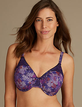 Lace Trim Non-Padded Full Cup Bra C-G