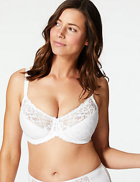 Floral Jacquard Lace Minimiser Full Cup Bra C-GG