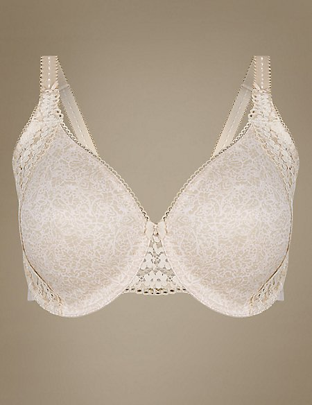 Vintage Lace Minimiser Non-Padded Full Cup Bra C-GG