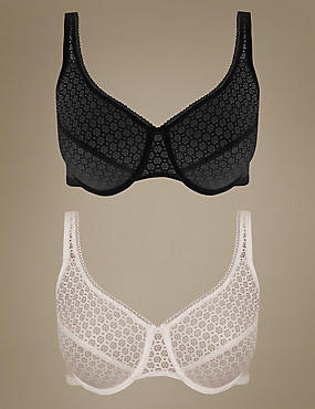 2 Pack Geometric Lace Minimiser Full Cup Bras C-G