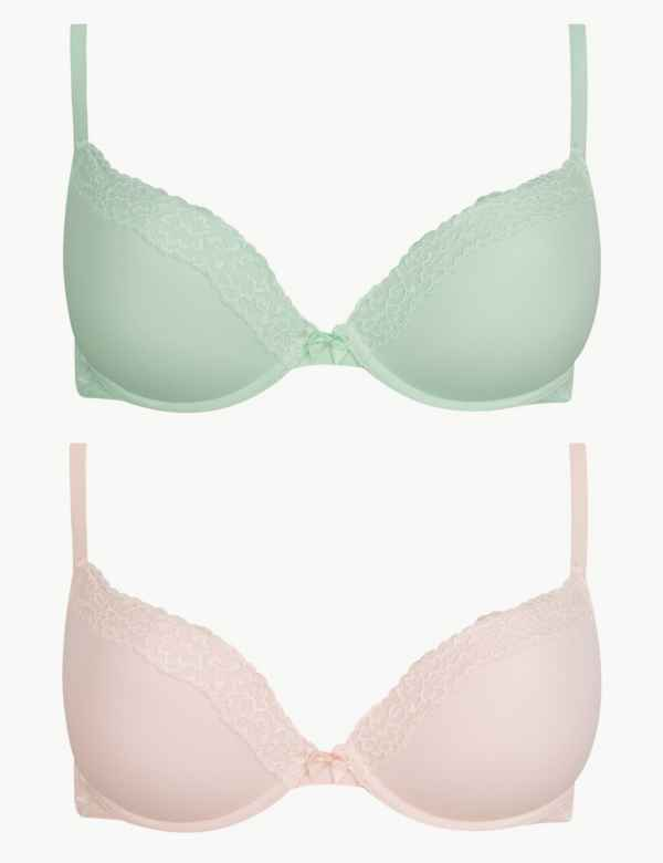 2799b24828 2 Pack Lace Padded Push-Up Bras A-E