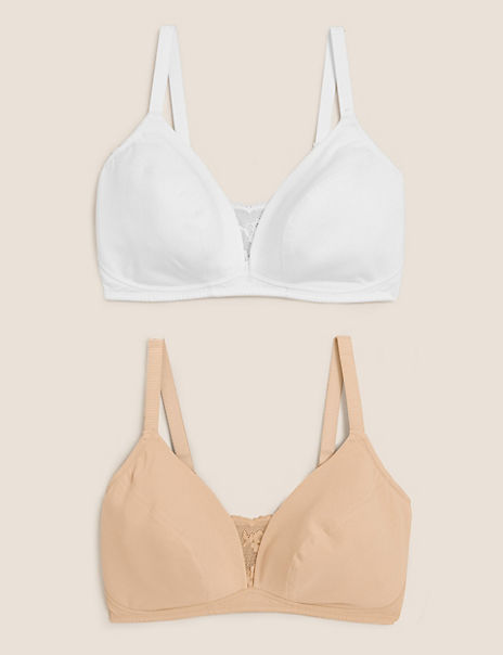 2 Pack Non-Wired Full Cup Bras A-E