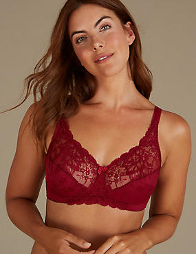 Jacquard Lace Non-Padded Full Cup Bra A-DD