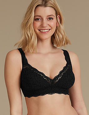 Vintage Lace Cotton Rich Longline Bra A-DD