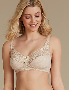 Vintage Lace Cotton Rich Full Cup Bra A-DD