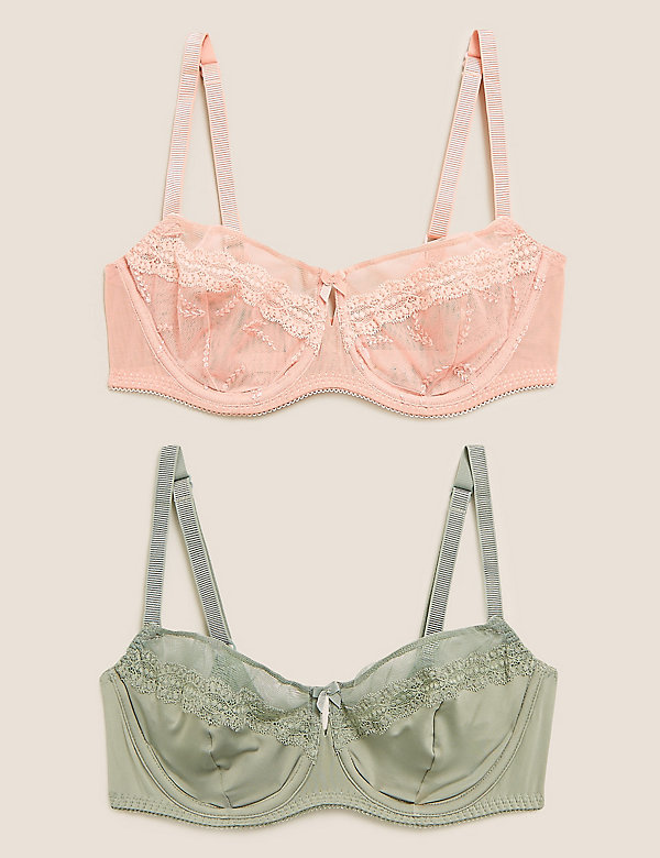 Brand New Ex M/&S Autograph Embroidered Padded Balcony Bra Sizes 32-36 A