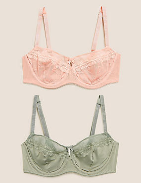 MARKS SPENCER M/&S 2 PACK EMBROIDERED PADDED PLUNGE GREEN//BLUE BRAS 32 34 36 A #