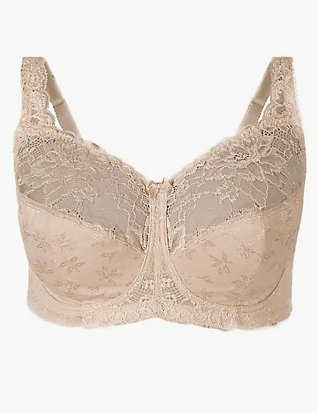 Total Support Floral Jacquard Lace Full Cup Bra B-G