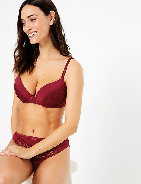 2 Pack Texture & Lace Push-Up Plunge Bras A-DD