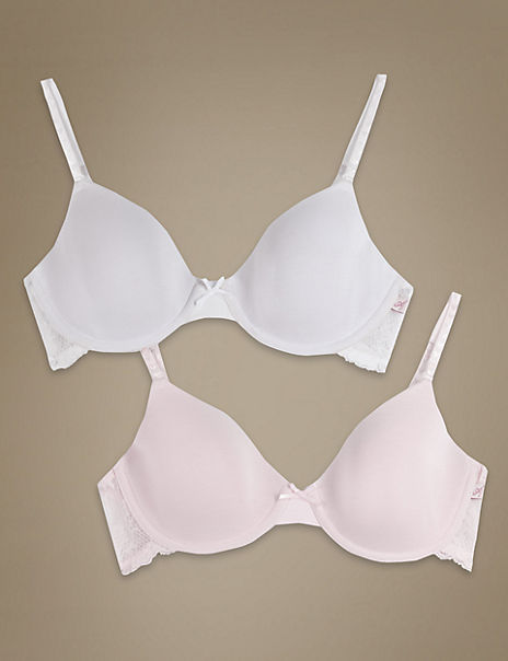 2 Pack Padded Flexi Underwired Lace Wing First Bras AA-DD