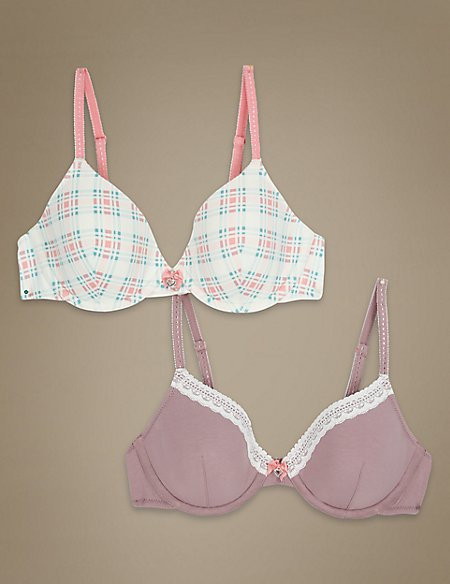 2 Pack Underwired Checked Bra