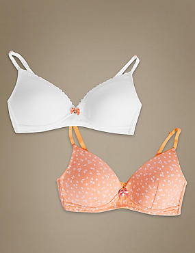 2 Pack Cotton Rich Padded Full Cup Bras AA-D