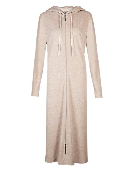 Hooded Zip Through Velour Dressing Gown