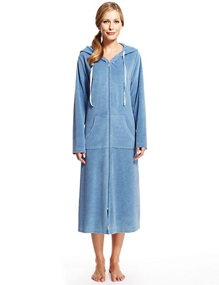 Hooded Velour Dressing Gown Per Una Ms
