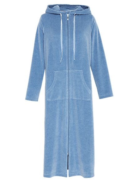 Hooded Velour Dressing Gown | Per Una | M&S