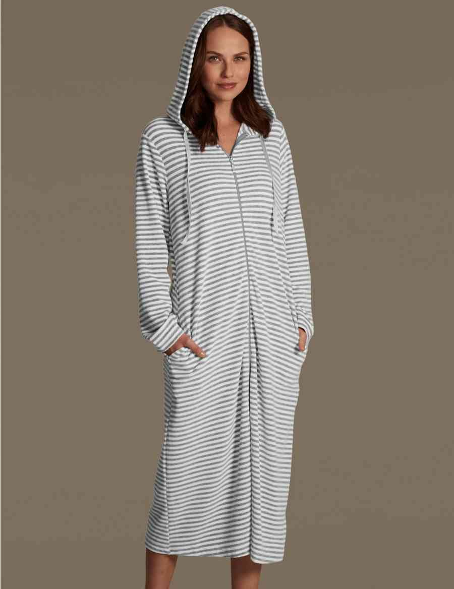 Velour Zip Through Striped Dressing Gown Ms Collection Ms