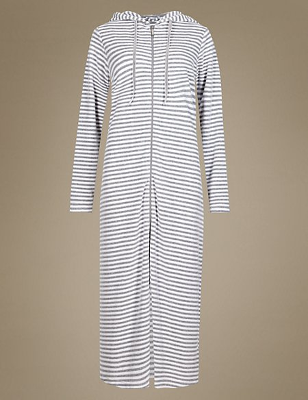 Velour Zip Through Striped Dressing Gown | M&S Collection | M&S