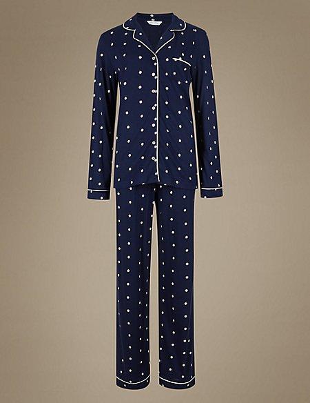 Daisy Print Revere Collar Pyjamas