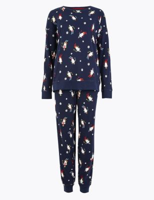 Pure Cotton Penguin Print Pyjama Set by Marks & Spencer