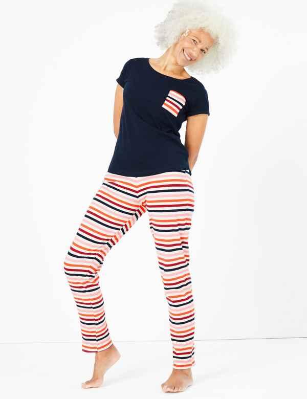 p60286965: Cotton Rich Striped Pyjama Set
