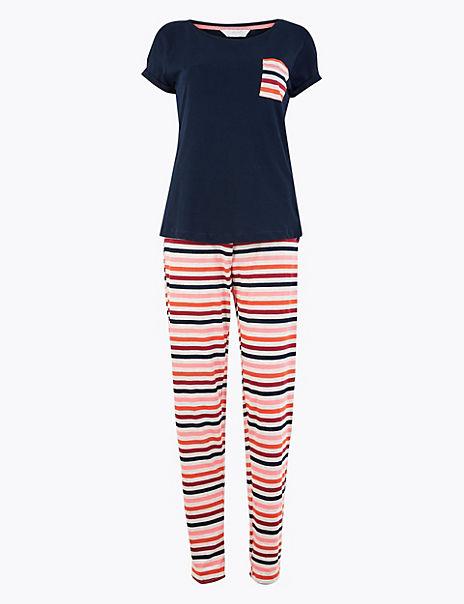 Cotton Rich Striped Pyjama Set