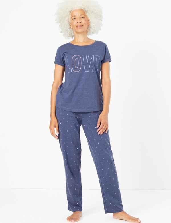 p60286966: Love Slogan Short Sleeve Pyjama Set